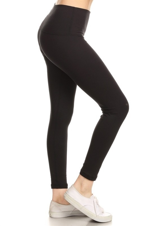 Picture of Solid Black Premium 5-Inch Yoga Leggings